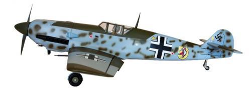 MESERSCHMIT BF 109E    翼展 :162 公分  飛行重量:5.5 公斤  機身長:152 公分  引擎動力 : 15 - 20cc  動作:7動作 9個伺服器.